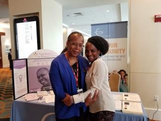 ECANA Steering Group Member, Adrienne Moore (left), with gyn cancer advocate, Dicey Scroggins, at the NRG Oncology 2019 meeting